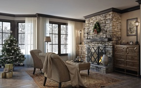Picture room, Villa, tree, gifts, fireplace