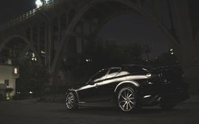 Picture Bridge, Night, Street, Mazda, Black, Mazda, Black, RX-8, RX8
