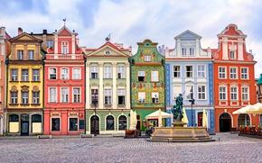 Picture design, home, area, Poland, fountain, Poznan