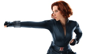 Picture look, pose, Scarlett Johansson, costume, Scarlett Johansson, Black Widow, The Avengers, Black Widow, Avengers