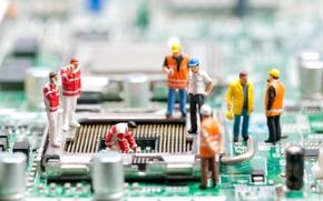 Picture dolls, motherboard, repair simulation