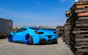 Wallpaper Ferrari, 458, Blue, Italia, Edition, Rear, Liberty, Walk
