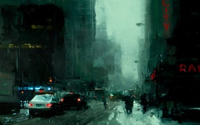 Picture snow, the city, street, Noir, black, jeremy mann