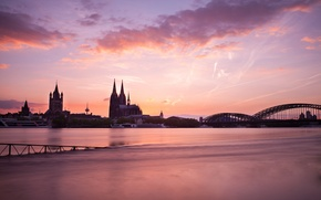 Picture bridge, river, morning, Germany, temple, architecture, Cologne