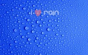 Picture drops, blue, the inscription, minimalism