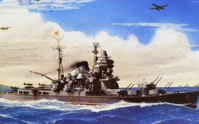 Picture Navy, ship, Tone, art, Japanese, WW2, military, cruiser, cruiser, IJN
