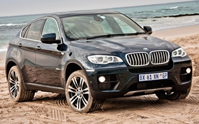 Picture blue, BMW, jeep, BMW, the front, Икс6, horizon littered, beach.sand, xDrive50i