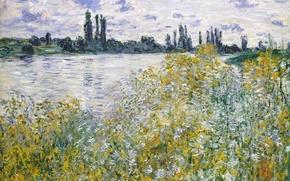 Picture landscape, picture, Claude Monet, Island of Flowers on the Seine near Vetea