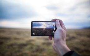 Picture sea, clouds, landscape, photo, sunrise, Galaxy, Samsung, manual
