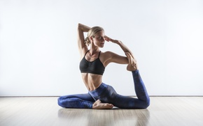 Picture blonde, pose, workout, yoga