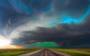 Picture road, the sky, clouds, clouds, storm