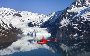 Picture SEA, MOUNTAINS, The OCEAN, The SKY, FLIGHT, SNOW, HELICOPTER, BLADES, GLACIER