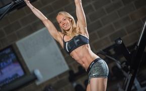 Wallpaper abs, blonde, fitness