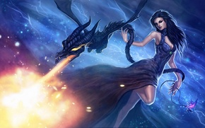 Picture girl, fire, magic, dragon, fantasy, art