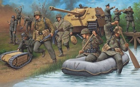 Wallpaper war, figure, crossing, the Germans, Jagdpanther, the army corps of engineers