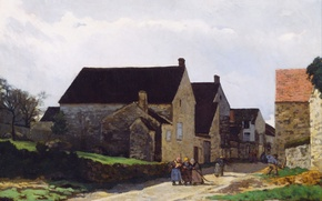 Picture the sky, clouds, the city, people, street, home, picture, Alfred Sisley