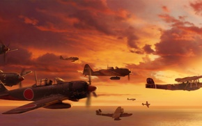 Picture aircraft, war, airplane, aviation, dogfight, japanese aircraft