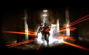 Picture light, weapons, fire, smoke, lamp, tile, columns, Battlefield 3