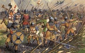 Picture earth, art, Luke, war, centennial, sharpened stakes, halberds, battle axes, English, A. Averyanov, armor, infantry, …