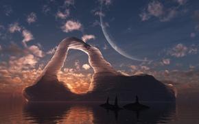 Picture sea, iceberg, arch, whales, digital, Circumpolar