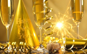 Picture New Year, glasses, golden, champagne, serpentine, New Year, sparklers, celebration, holiday, Happy, champagne