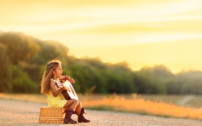 Picture guitar, girl, song, Country Blues