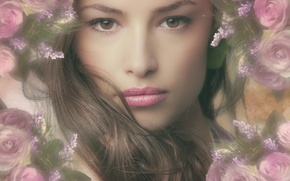 Picture girl, face, hair, portrait, pink, flowers, hair, roses, makeup
