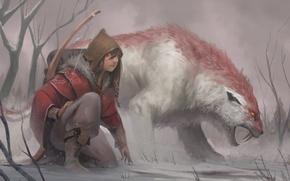 Picture bow, art, hunting, beast, Pathfinder, Josh Corpuz