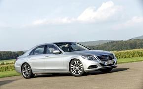 Picture silver, car, the flagship, Mercedes-Benz S550 2014, С-class, Mercedes С550