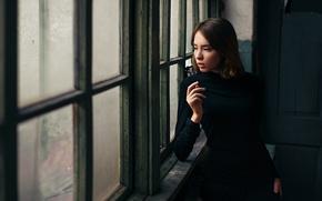 Picture look, girl, room, model, portrait, light, Elena, furnished, sadness, window, Lena, Maks Kuzin