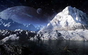 Picture the sky, stars, mountains, planet, satellite, orbit