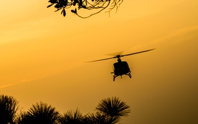 Picture flight, nature, dawn, spinner, silhouette, helicopter, screws, helicopter, wallpaper., beautiful background, beautiful background