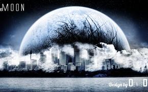 Picture nature, the moon, landscapes, City, Moon, photoshop