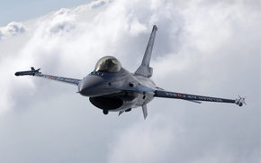 Wallpaper Photo, Fighting, Flight, The sky, Multipurpose, Clouds, F-16, Falcon, Height, Fighter