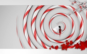 Wallpaper leaves, girl, red, Spiral