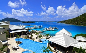 Picture the city, the ocean, Marina, Bay, pool, resort, Caribbean, resort, Caribbean, marina, Scrub Island