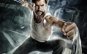 Picture metal, hero, claws, Wolverine, fists, X-Men: The Beginning, Hugh-Jackman