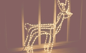 Picture lamp, new year, Christmas, deer, light bulb