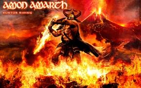 Picture Fire, The volcano, Amon Amarth, Giant, Surtur Rising