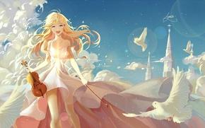 Wallpaper shigatsu wa kimi no uso, feathers, art, miyazono kawori, anime, castle, birds, girl, the sky, ...
