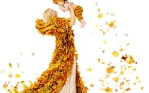 Picture autumn, leaves, joy, woman, child, woman, autumn, leaves, child