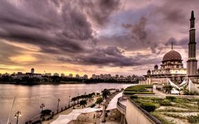Picture landscape, river, The city, mosque
