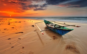 Picture sea, beach, sunset, boat