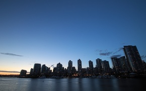 Picture Canada, twilight, skyline, water, shore, buildings, downtown, Vancouver, yachts, skyscrapers, port, dock, docks, offices