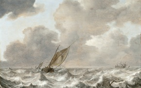 Picture wave, the sky, clouds, storm, boat, ship, picture, Jan Porcellis, stormy sea