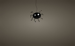Picture black, minimalism, web, spider, spider, dark background