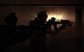 Picture special forces, darkness, guns, soldiers