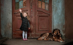 Picture joy, laughter, dog, the door, girl, child