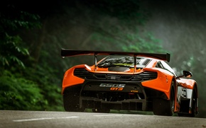 Picture McLaren, Auto, Orange, GT3, Supercar, Sports car, Rear view, 650S, Wing
