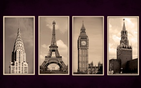 Picture city, Paris, New York, Moscow, London